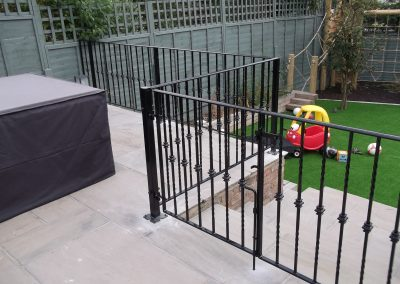 Bespoke railing with gates, incorporating knuckles