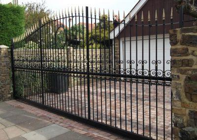 Ornate sliding gate without backing