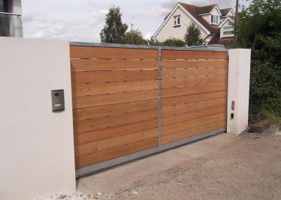 Wooden infill sliding gate