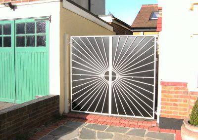 Bespoke sunburst gate with backing