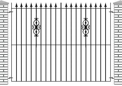 Elstead flat top entrance gates