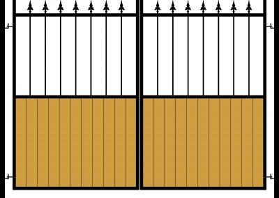 Half wooden infill flat top gates