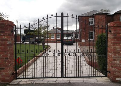 Victoria driveway gates with lettering 3